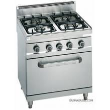 Газова печка с електрическа фурна 4 котлона BERTOS, G7F4E+FE1